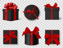 Black gift box. Realistic 3d luxury dark cardboard round and square boxes with red silk ribbons and bows, different angles side and top views. Black friday advertisement elements vector isolated set