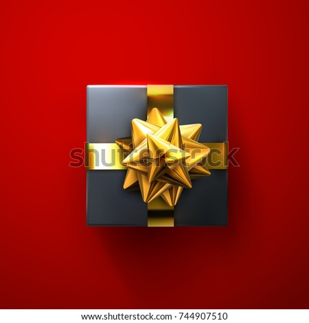 black gift box with glittering