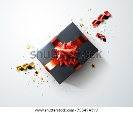 Black gift box with shiny red ribbons, bow and srewed confetti particles and stars. Vector festive illustration. Top view. Holiday decoration element. Birthday or anniversary present