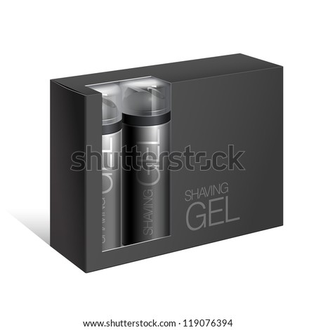 Black Gift Package Cardboard Box with a window with two bottles of shaving gel. Vector illustration