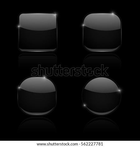black glass buttons round and