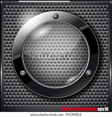 Black glass circle on a metal grid. Vector illustration