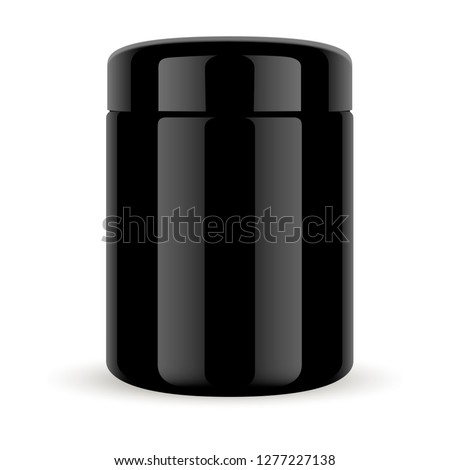 Black Glass Jar. Cosmetic Container with Glossy Lid for Premium Beauty Supplement. 3d Package for Serum, Facial Cream, Butter, Scrub or Treatment. Isolated Round Canister Mockup.