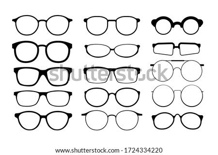Black glasses rim. Eyeglasses and sunglasses collection vector illustration. Vintage, classic and modern style glasses rim silhouette. Stylish male and female optical accessories isolated set Foto stock ©