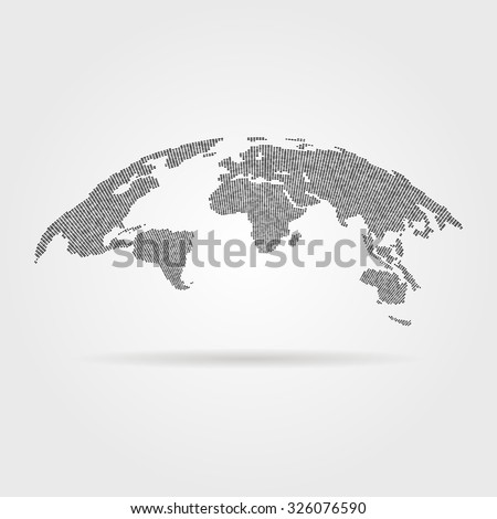 black global world map from