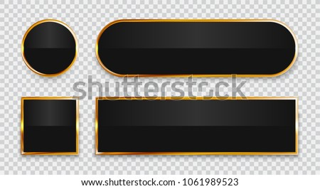 Black glossy buttons with gold elements set isolated on transparent background.