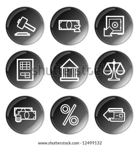 Black glossy finance icons set. Vector.