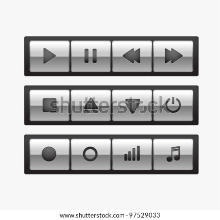 Black glossy metal square media player buttons isolated on background