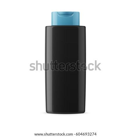 black glossy plastic bottle for