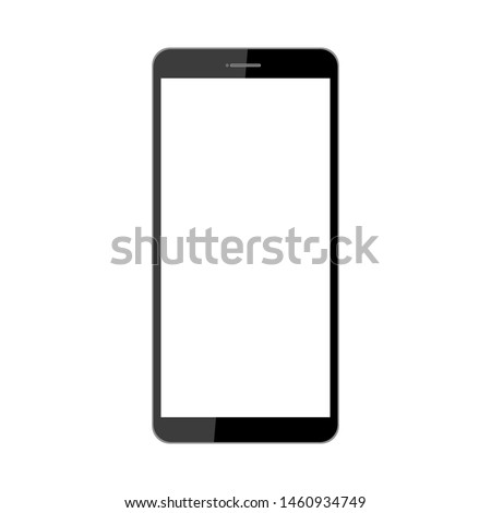 black glossy smartphone with white blank screen isolated on white background. vector illustration