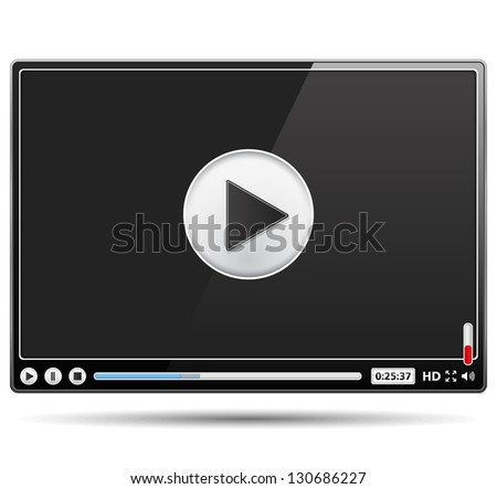 Black glossy video player template on white background, vector eps10 illustration