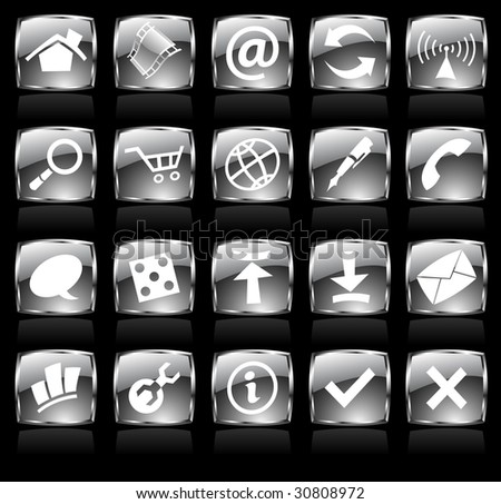 Black glossy web icons with metallic frames