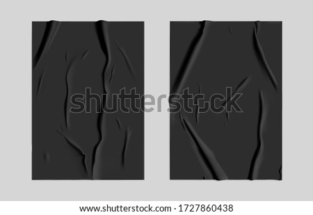 Black glued paper set with wet wrinkled effect on gray background. Black wet paper poster template set with crumpled texture. Realistic vector posters mockup