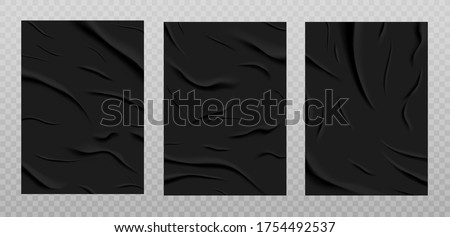 Black glued paper texture, wet wrinkled paper sheets set. Posters with crumpled and creased wrinkles isolated on a transparent background. Vector illustration. A4 format.