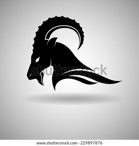 Black Goat Head Vector Design dark outline - vector illustration