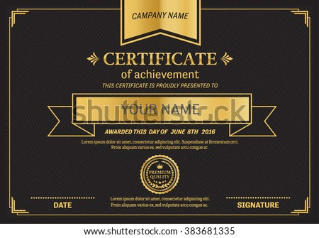 black gold elegant certificate template vector illustration