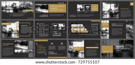 Black gold presentation templates and infographics elements background. Use for business annual report, flyer, corporate marketing, leaflet, advertising, brochure, modern style.