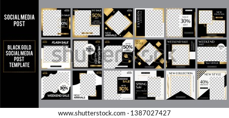 Black Gold social media post design template Bundle Golden Premium Vector