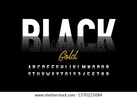 Black gold style font, crude oil alphabet letters and numbers vector illustration
