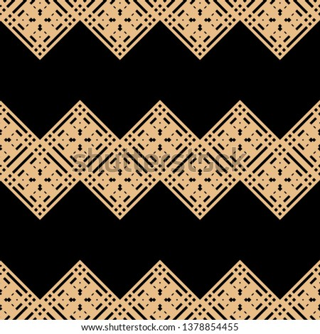 black golden Art Deco pattern in ethnic style Aztec style hipster style