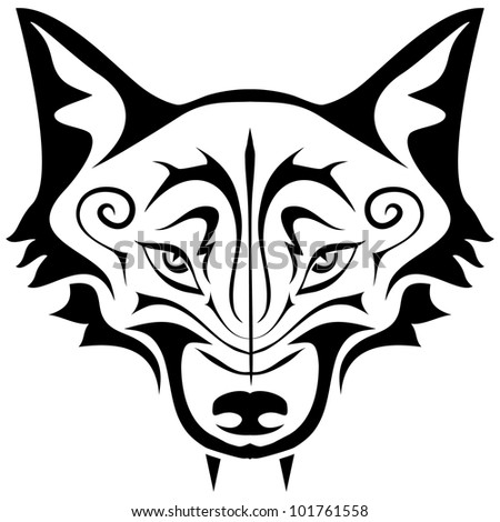 Black gothic tattoo. The head of a wolf on a white background