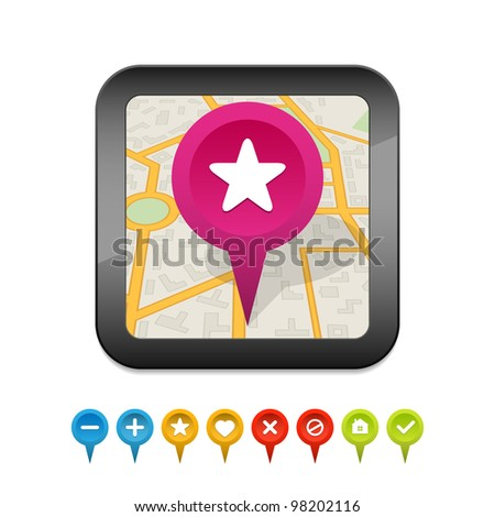 Black gps navigator icon with labels. Vector illustration.