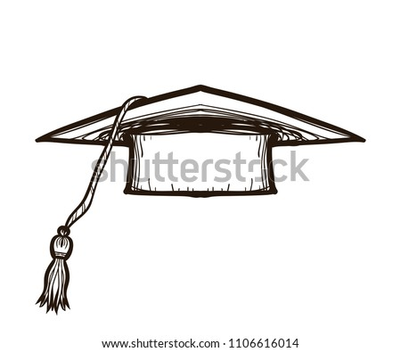 Black graduate cap isolated on white background. Alumnus hat vector illustration collection in sketch style. Coloring book for adults