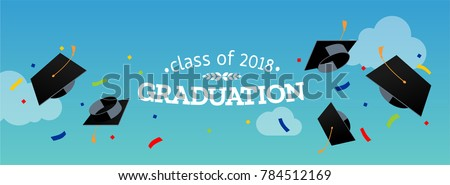 Black graduate caps and confetti on a against the sky. Vector illustration. Congratulation graduates 2018 class of graduations. Background for banners, invitation card and greeting.