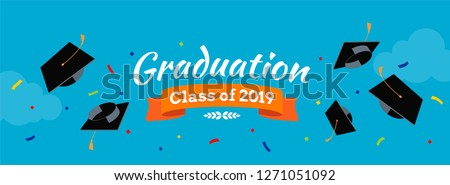 Black graduate caps and confetti on the sky background. Vector background for banners, invitation card and greeting. Graduation Party concept.