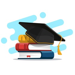 Black graduation cap on stack of books. Education and graduation concept. Vector illustration in flat style.