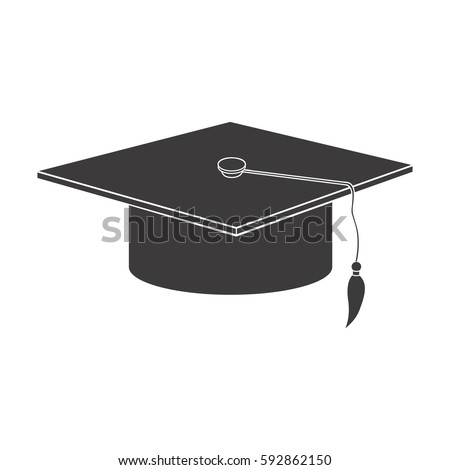 black graduation hat icon, vector illustraction design image