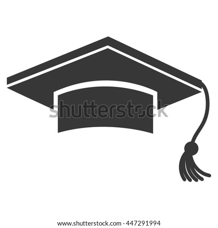 Black graduation hat isolated on white background, vector illustration.