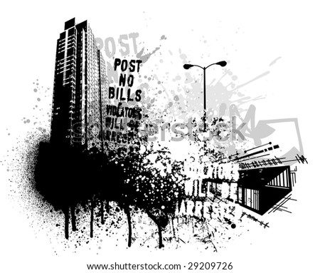 black graffiti wallpaper. stock vector : Black graffiti