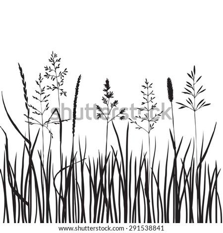 black grass silhouettes  hand