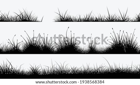 black grass silhouettes in set on white