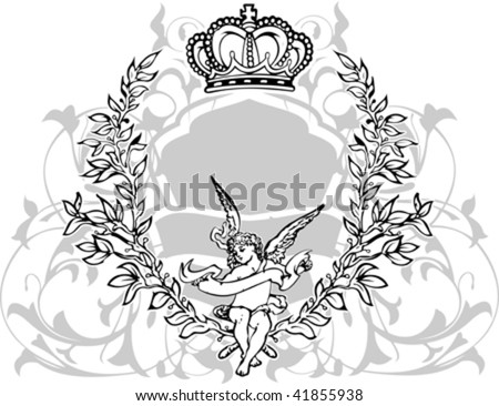 Black, Gray  And White Crowned Cupid. Vector Illustration.