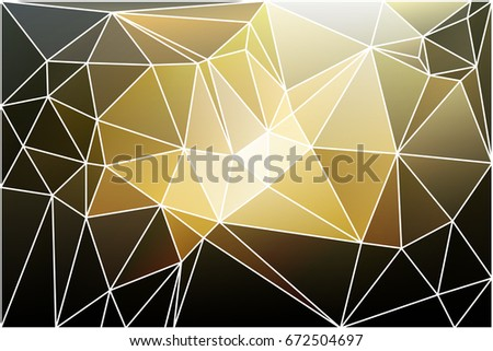 Black gray yellow white abstract low poly geometric background with white triangle mesh.