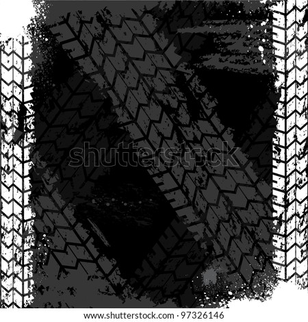 Black grunge background with white tire track