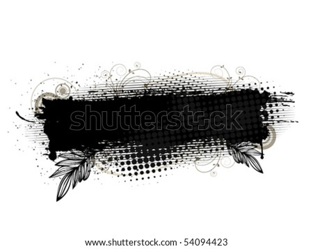 black grunge banner on white background. All elements are grouped. Layered file for easy edition.