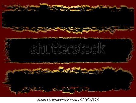 Black grunge banner with red background. vector.