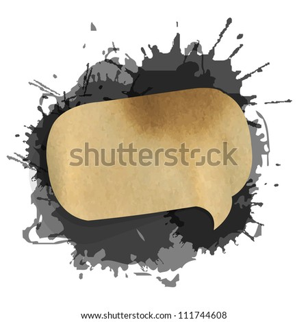 Black Grunge Blob With Speech Bubble, Isolated On White Background, Vector Illustration