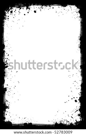 Black grunge frame isolated on the white background