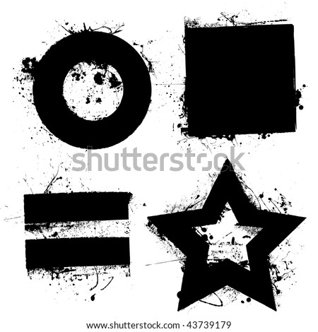 Black grunge ink splat shapes with star and circle