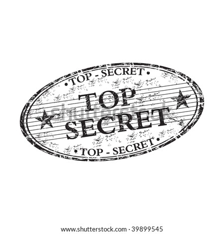 Black grunge oval rubber stamp with the text top secret written inside the stamp - stock vector