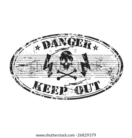 Black grunge rubber oval stamp with skull shape, electricity symbols and the text danger keep out written inside the stamp