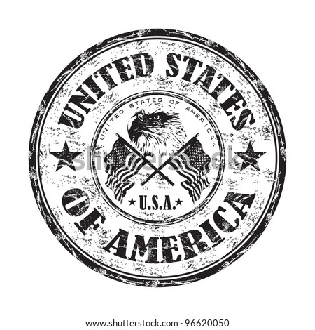 Black grunge rubber stamp with bald eagle between two american flags and the name of the United States of America written inside the stamp - stock vector