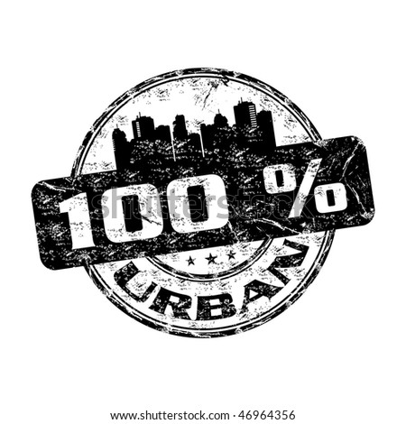 Black grunge rubber stamp with building shapes and the text one hundred percent urban written inside the stamp