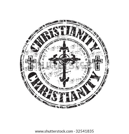 Black grunge rubber stamp with christian crosses and the word christianity written inside the stamp