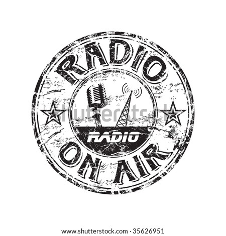 Black grunge rubber stamp with microphone shape, radio tower and the text radio on air written inside the stamp