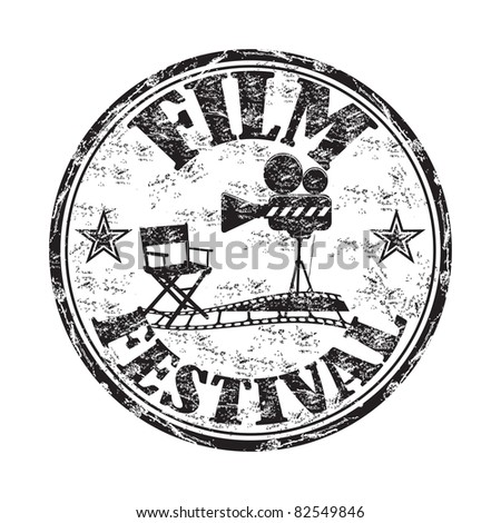 Black grunge rubber stamp with movie projector, director chair, filmstrip and the text film festival written inside the stamp